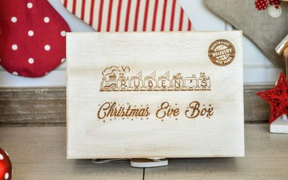 Personalised Christmas Eve Box Train Rustic White Box Memory Etsy