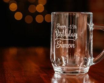 Personalised Pint Beer Glass / Birthday Gift / 18th Birthday