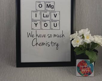 Science//Print//Chemistry inspired//Chemical Elements//Pereodic table//Personalise//Gift//A4 Print//Paper Anniversary//Anniversary