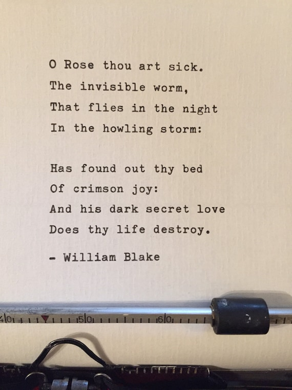William Blake Hand Typed Poem Vintage Typewriter Ink Love Poem Valentines Gift Quote Lyrics