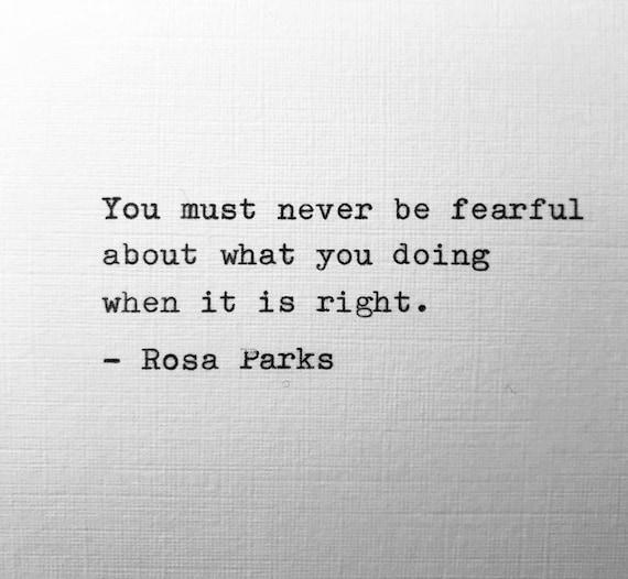 Rosa Parks Hand Typed Quote Poem Vintage Typewriter Lyric Gift