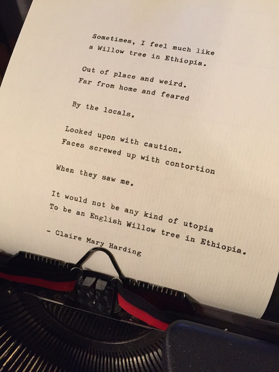 Willow Tree In Ethiopia Poem By Claire Mary Harding Hand Typed Poem Quote Lyrics