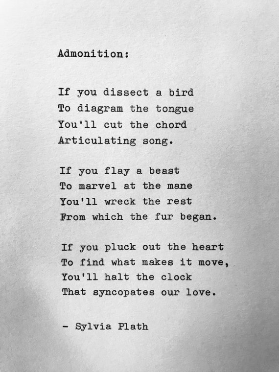 Sylvia Plath Admonition Hand Typed Poem Vintage Typewriter Quote Lyric Poetry