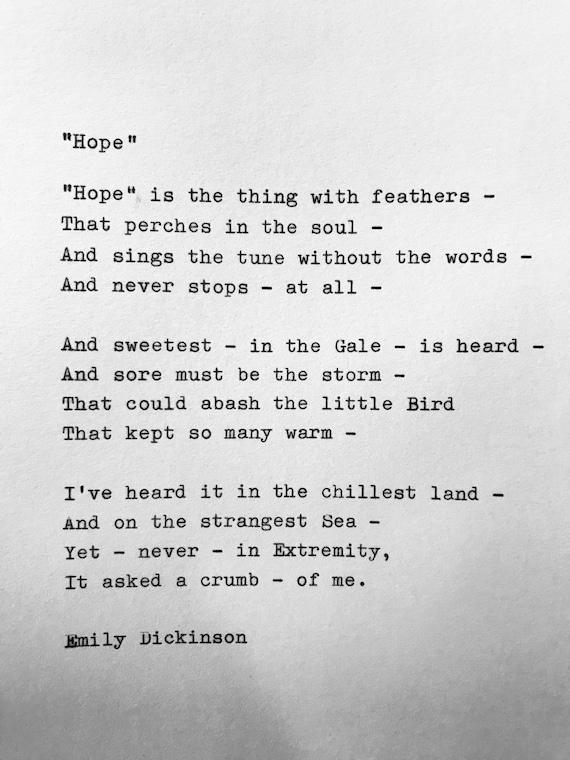 Emily Dickinson Hope Hand Typed Poem Vintage Typewriter Quote Lyric Poetry