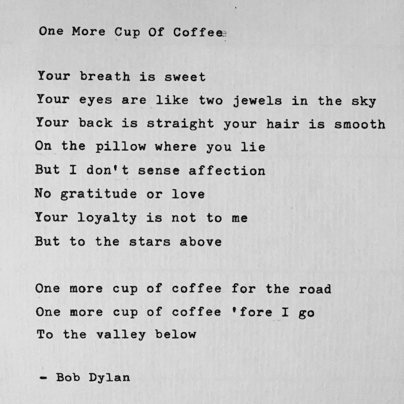Bob Dylan One More Cup Of Coffee hand typed lyrics vintage image 0