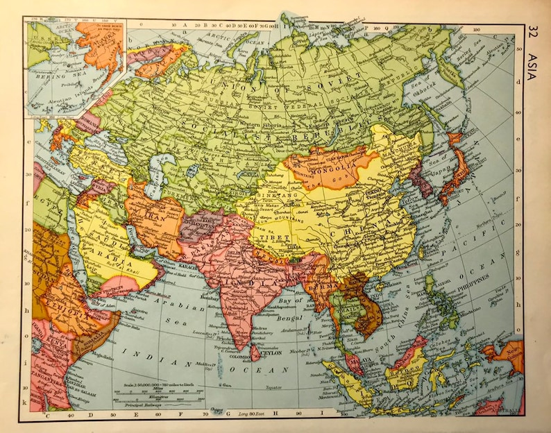 Map Of Asia Japan And China.Vintage Map Asia 1950 S China India Japan Christmas Gift Etsy