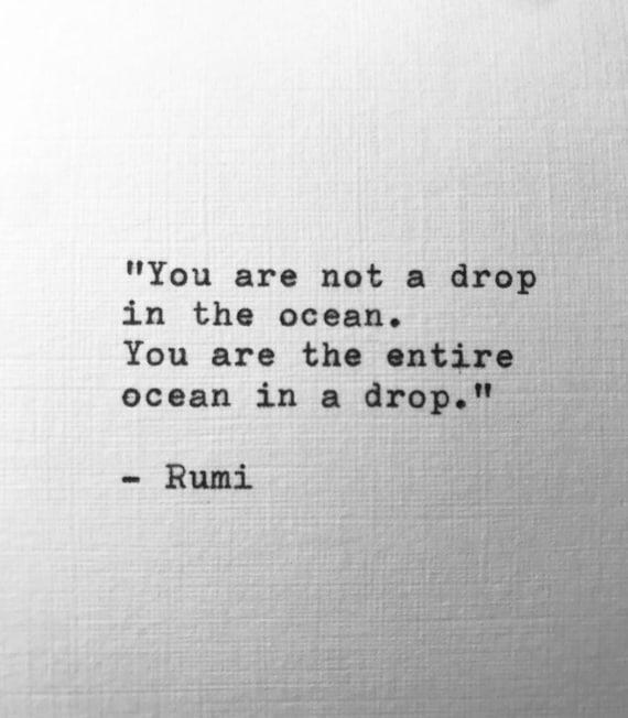 Rumi Eingegeben Hand Zitat Gedicht Schreibmaschine Lyric Geschenk