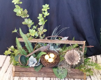 Natural Greenery Arrangement with Antique Clippers in Lathe Box
