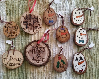 Wood Burned Hand Painted Ornaments