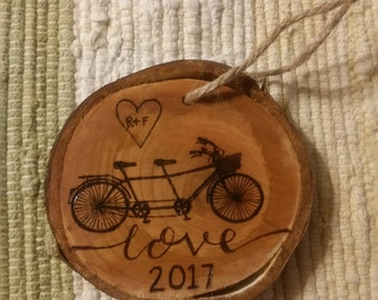 Wood Burned Bicycle Built For 2 Ornament