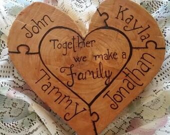 "Custom Wood Burned Family Heart ""Puzzle"""
