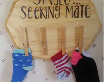 Wood Burned 'Single... Seeking Mate' Sign With Clothspins