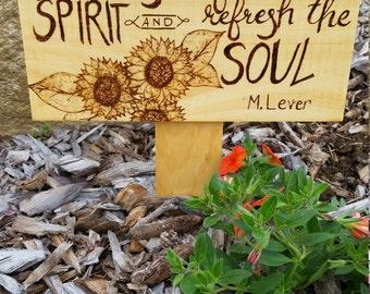 Wood Burned Flower Bed Sign