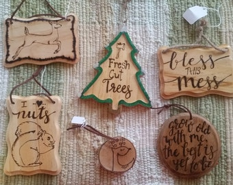 Wood Burned Signs and Ornaments