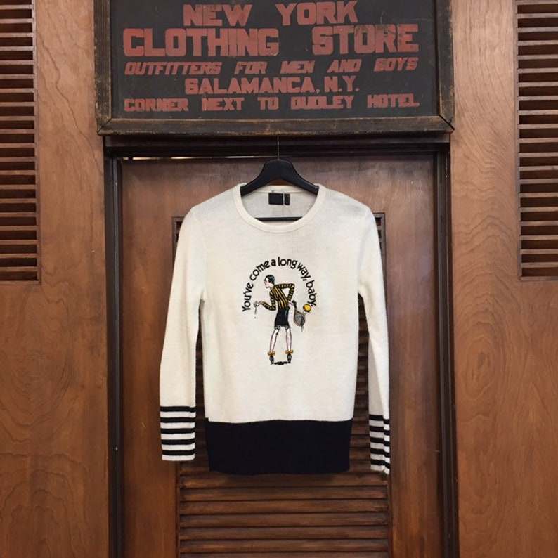 Vintage 1970\u2019s Virginia Slims \u201cYou\u2019ve Come a Long Way Tennis Vintage Sweater Vintage Clothing Baby.\u201d Sweater Virginia Slims Sweater