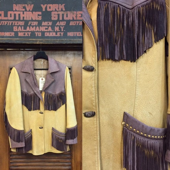 Vintage 1950's Two-Tone Fringe Western Leather Jac