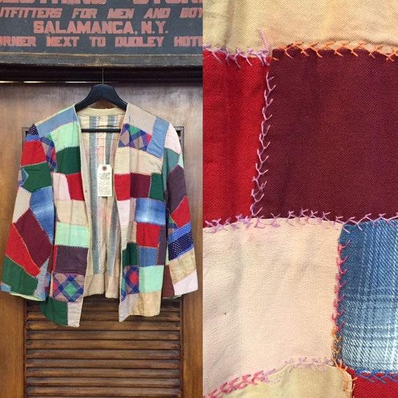 Vintage 1940's Patchwork Krazy Kwilt Cover Jacket,