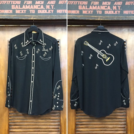 Vintage 1940's Western Shirt with Music Notes and