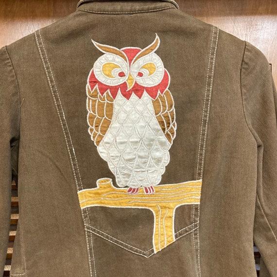 """Vintage 1960's """"Roncelli"""" Label Owl Design Denim … - image 9"""