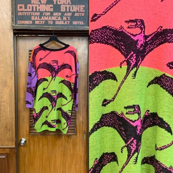 Vintage 1980's Betsey Johnson Neon Dinosaur Intars