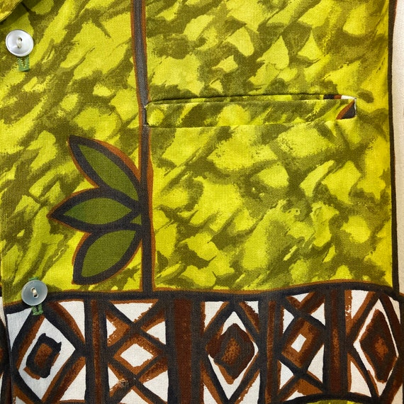 Vintage 1960's Peace Sign Tiki Cotton Pop Art Haw… - image 6