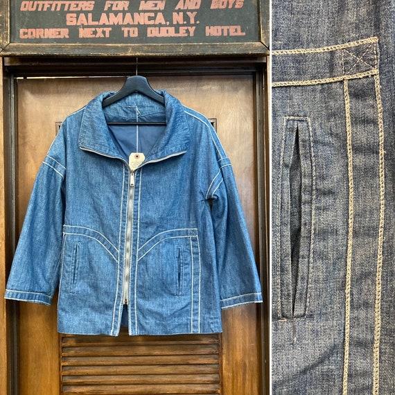 Vintage 1960's Cocoon Style Mod Design Denim Jacke