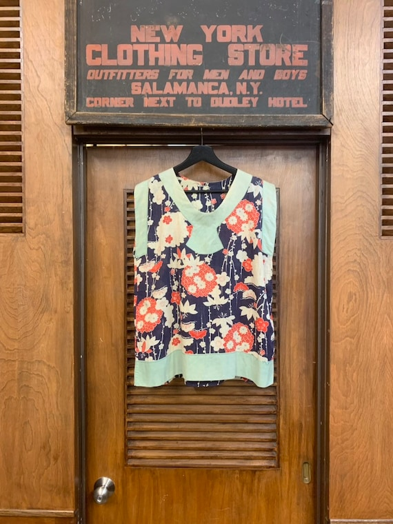 Vintage 1920's Summer Floral Cotton Pullover Top,… - image 2