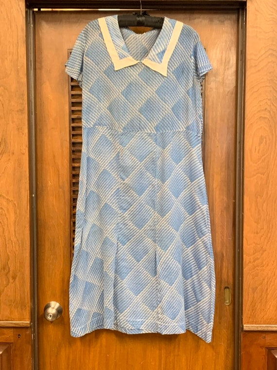 Vintage 1930's Blue & White Semi Sheer Optical Sq… - image 3