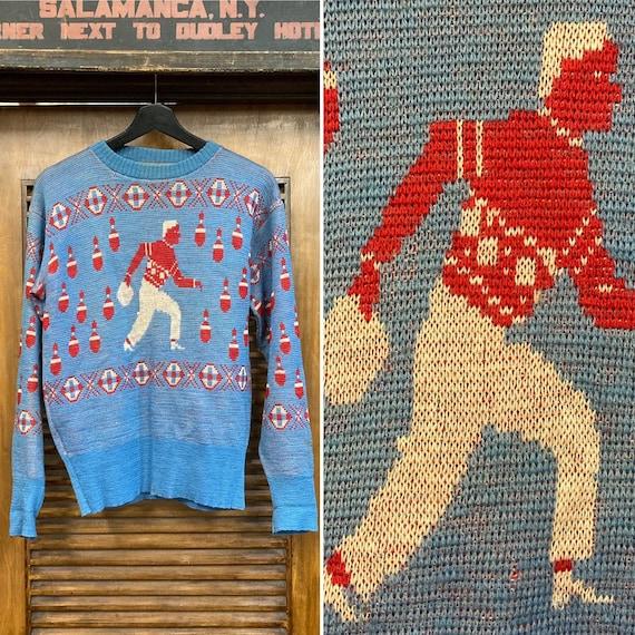 Vintage 1950's Bowling Theme Wool Knit Rockabilly