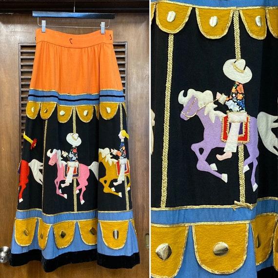 """Vintage 1960's """"Malcom Starr"""" Carousel Design Felt"""