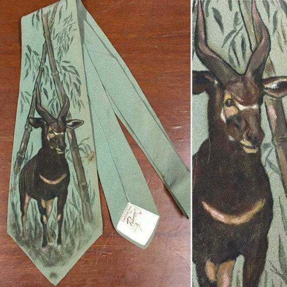 Vintage 1940's Necktie, Hand Painted Antelope Tie,