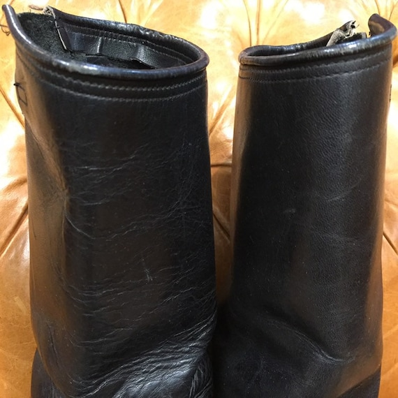 Vintage 1960's, Black Leather Boots, Motorcycle B… - image 4