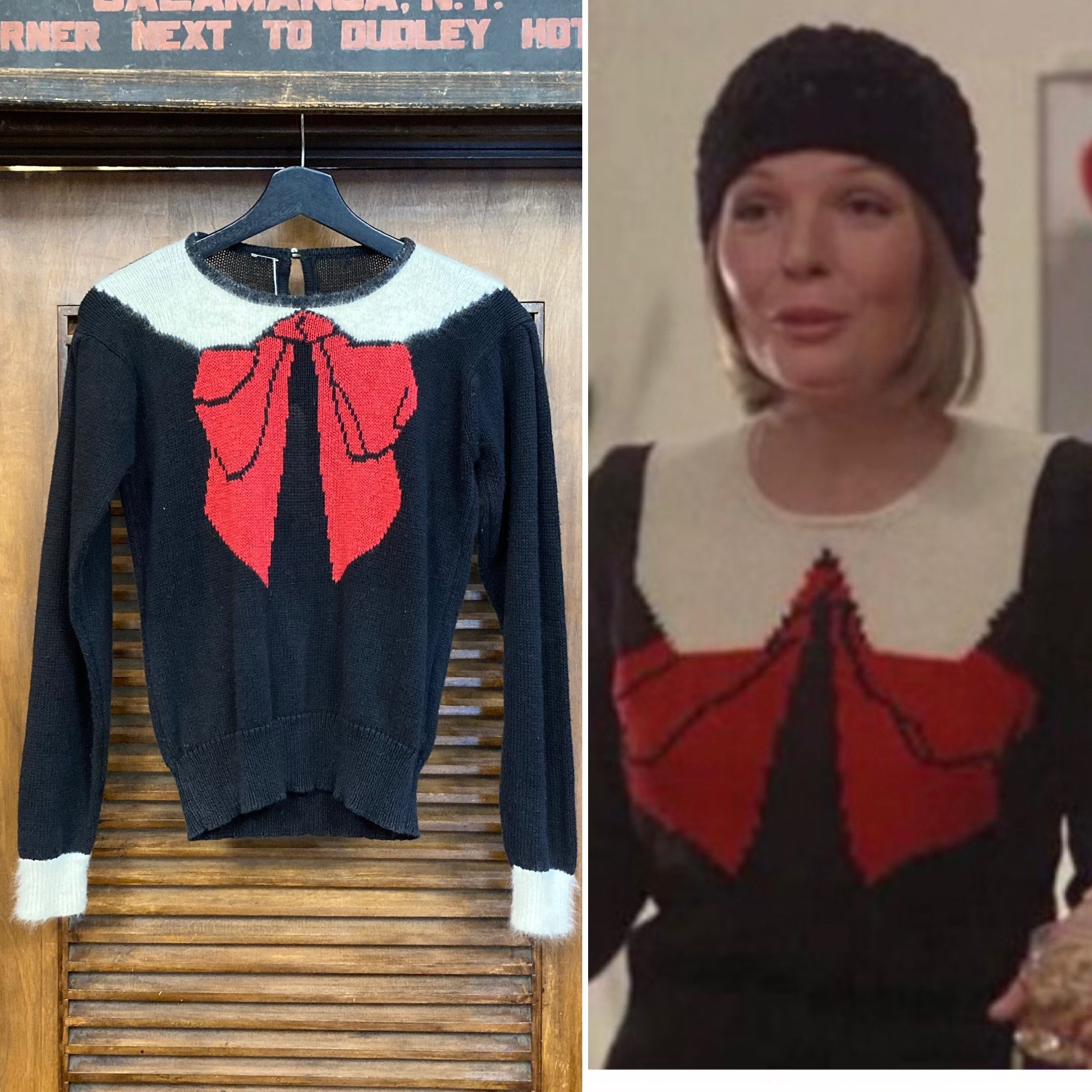 80s Sweatshirts, Sweaters, Vests | Women Vintage 1980s Trompe Loeil Knit Ribbon Bow Sweater - Diane Keaton Play It Again Sam - 80s Sweater, Pullover, Clothing $250.00 AT vintagedancer.com
