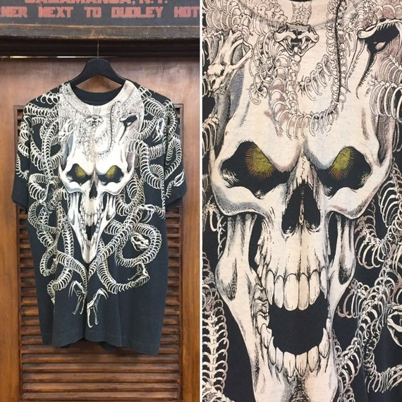 "Vintage 1990's Skull and Snakes ""Liquid Blue"" Labe"