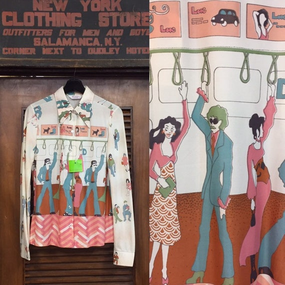 Vintage 1960's Wrangler Pop Art Subway Print Shirt