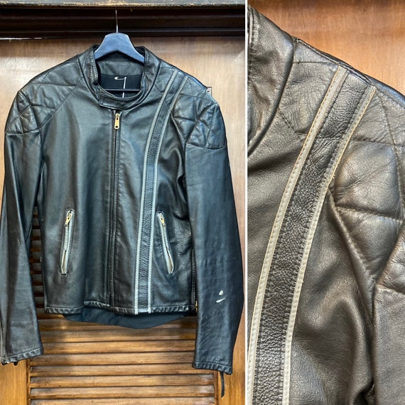 Vintage 1960's Two-Tone Cafe Racer Leather Jacket,