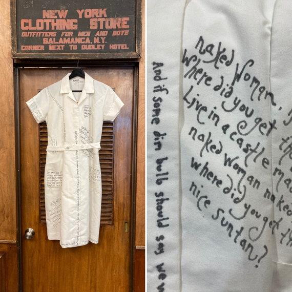 Vintage 1980's Song Lyric Nurse Uniform White Dres