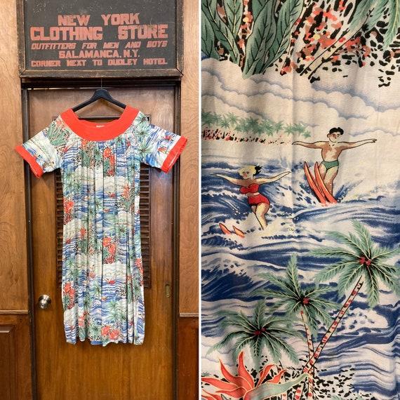 Vintage 1950's Tropical Rayon Hawaiian MuuMuu Dres