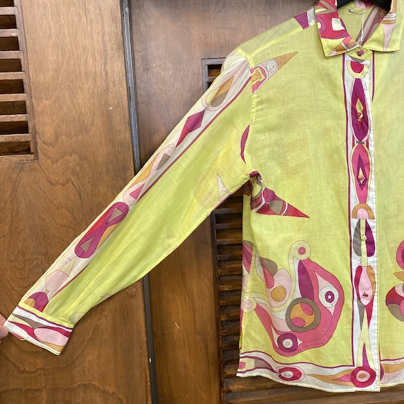 Vintage 1960's Emilio Pucci Mod Cotton Blouse Top… - image 5