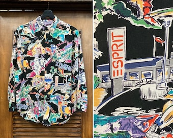 "Vintage 1980's ""Esprit Sport"" Postcard Design New Wave Shirt, 80's New Wave Shirt, 80's Americana, 80's Pop Art, Vintage Clothing"