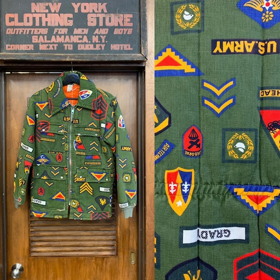 Vintage 1960's Military Print Pop Art Patch Quilte