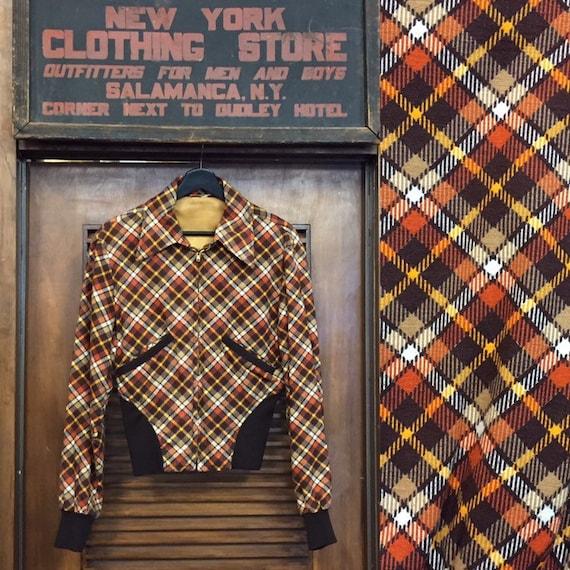 Vintage 1960's Cotton Plaid Bomber, Vintage Plaid,