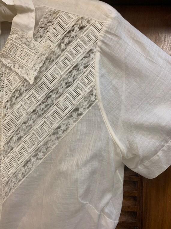 Vintage 1920's Lace & Cotton Blouse, Vintage Clot… - image 5