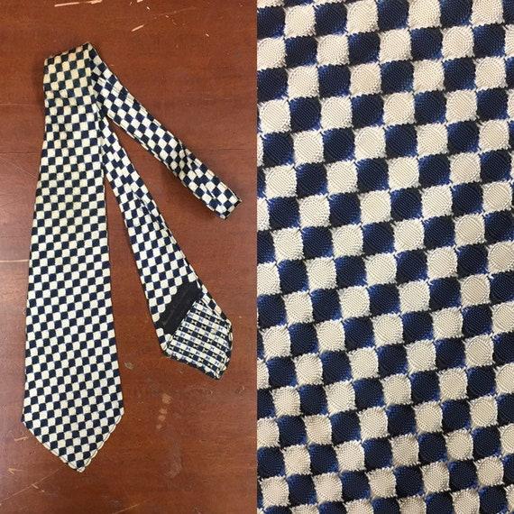 Vintage 1930's, Checker Design Swing Tie, Geometri