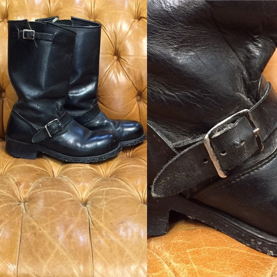 Vintage 1960's, Black Leather Boots, Motorcycle B… - image 1