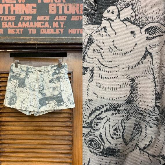 Vintage 1960's Pop Art Pig Print Shorts, Vintage C