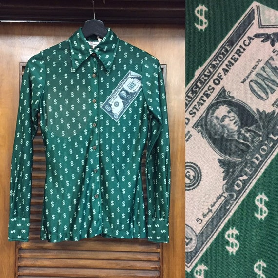 Vintage 1970's Money Print Green Disco Shirt Top,