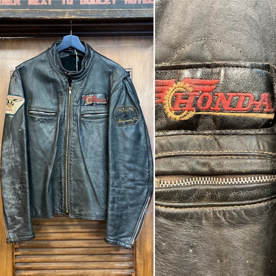 Vintage 1960's Motorcycle Club Cafe Racer Leather