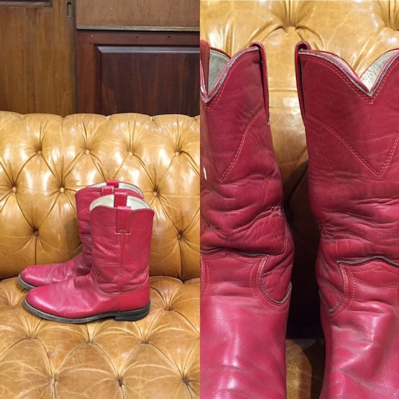 Vintage 1960's, Justin Boots, Red Leather cowboy b