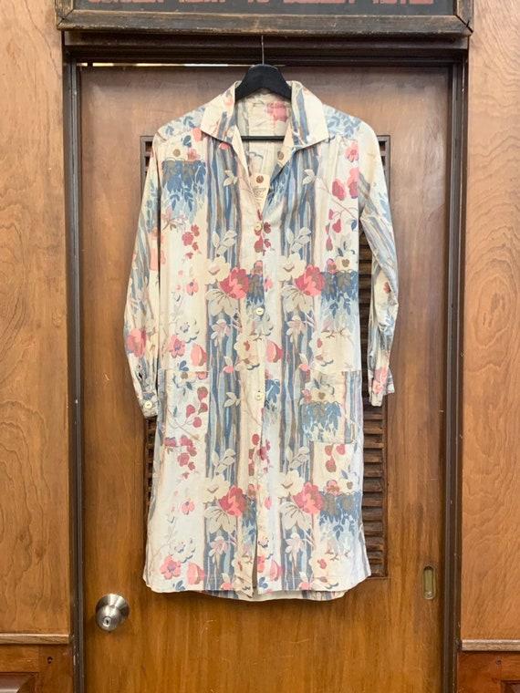 Vintage 1930's Floral Cotton Duster Coat, Vintage… - image 3